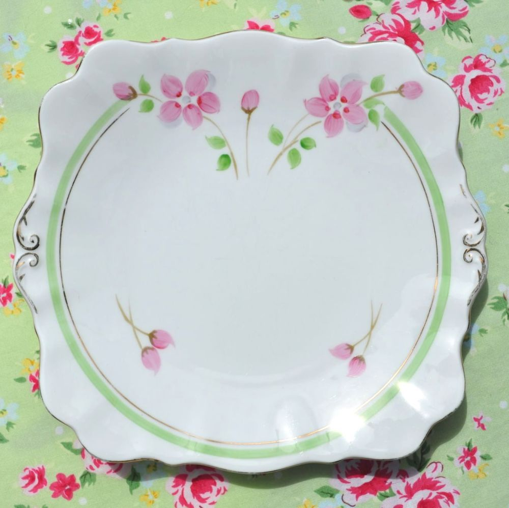 Roslyn Hand Painted Art Deco Style Cake Plate