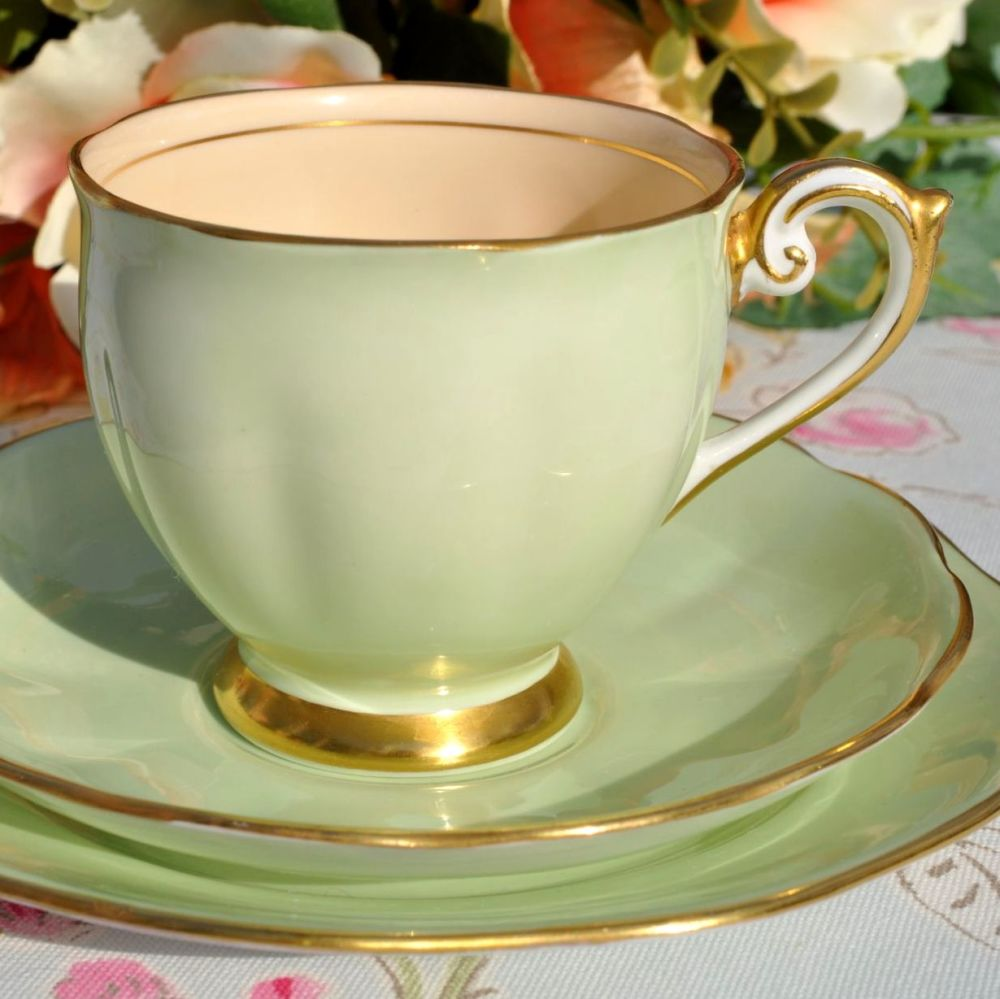 Bell China Pale Green and Apricot Vintage Teacup Trio c.1930s