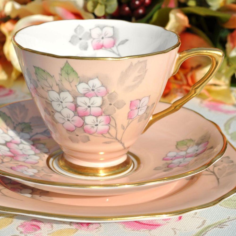 Royal Stafford Pink Blossom Hand Tinted Vintage Teacup Trio c.1952