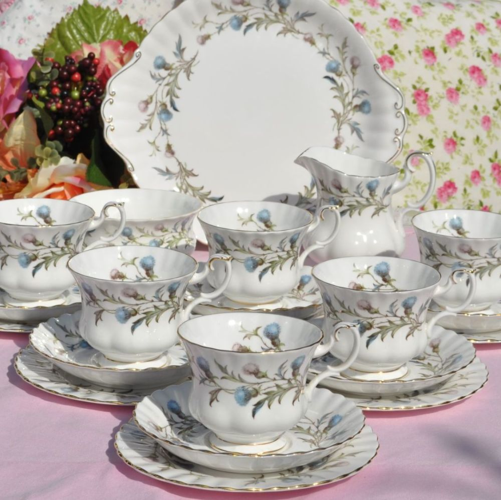 Royal Albert Brigadoon Blue Thistle Pattern Vintage Bone China Tea Set