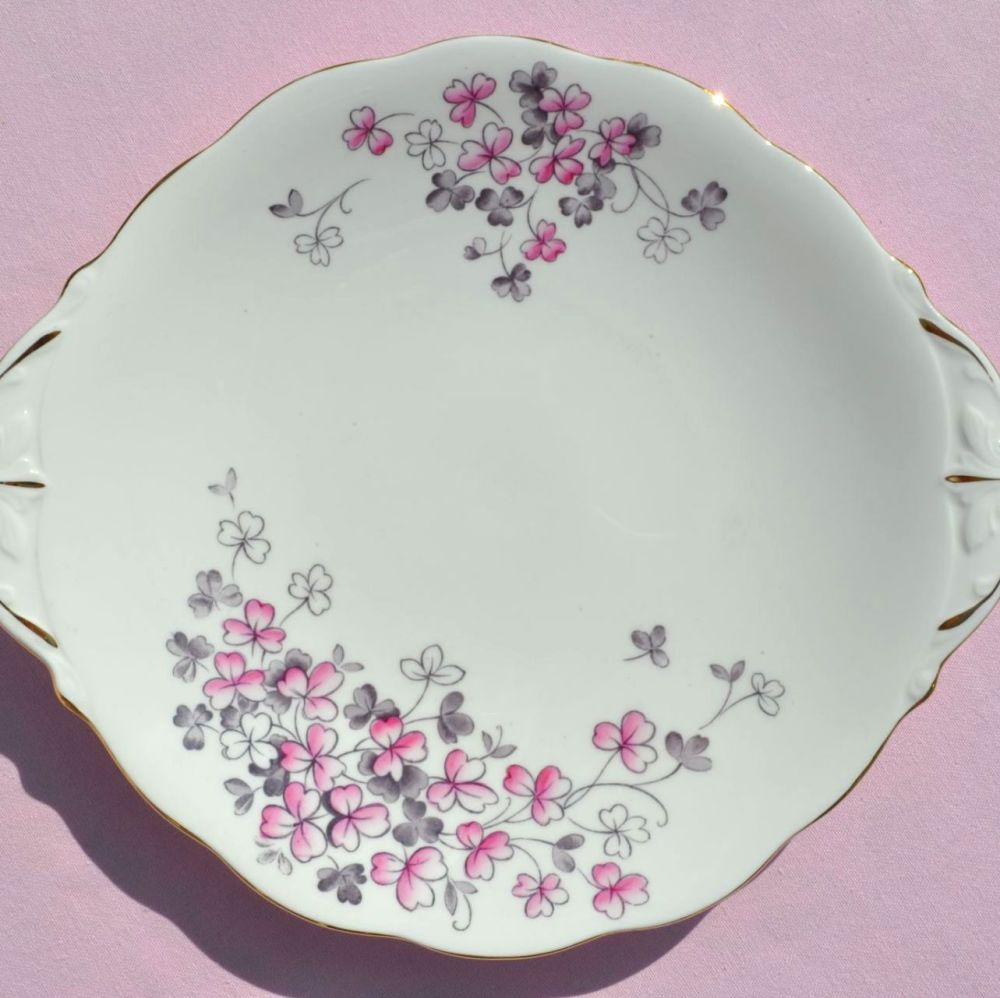 Queen Anne Pink Clover Cake Plate c.1950s