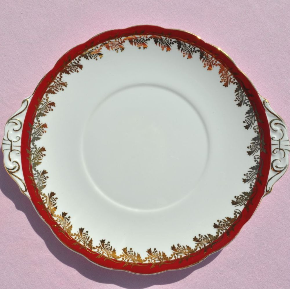 Royal Standard Red and Gold Leaf Vintage China Cake Plate c.1950s