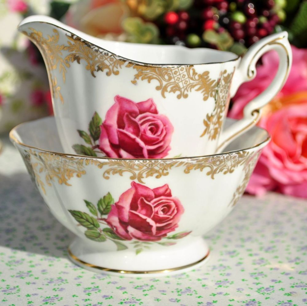 Paragon Pink Rose and Gold Filigree Vintage China Milk Jug and Sugar Bowl