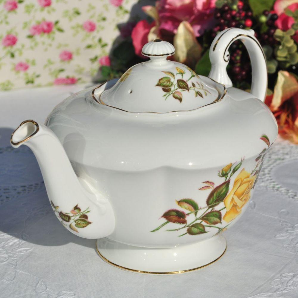 Paragon Sunset Yellow Roses Large Fine Bone China 2 Pint Teapot c.1950s