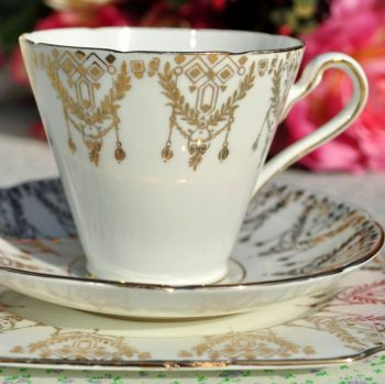 Gladstone Art Deco Bone China Gold Filgree Teacup Trio c.1920s