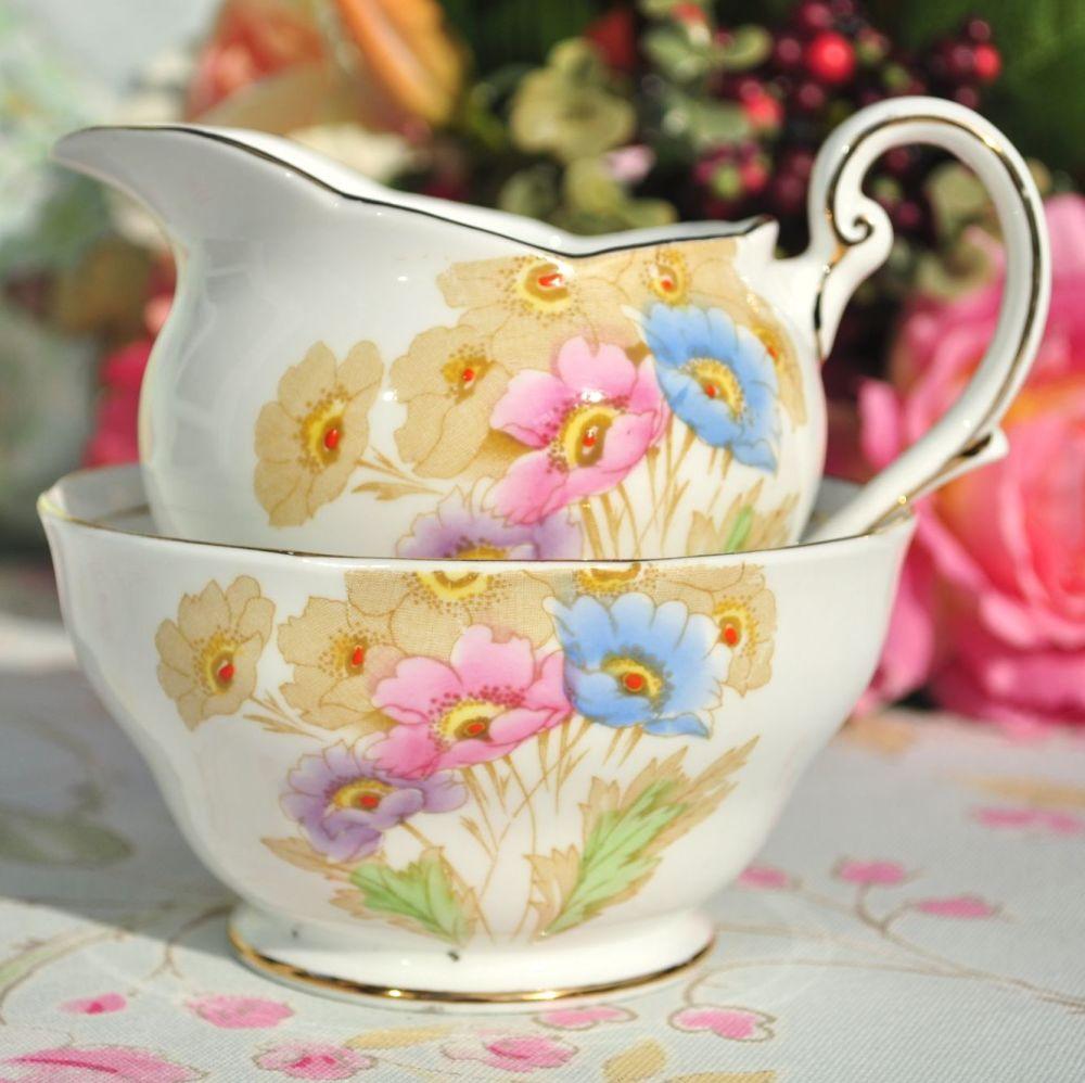 Royal Standard Somerset Hand Painted Anemones Milk Jug and Sugar Bowl