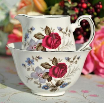 Royal Grafton Favourite Red Rose and Blue Flowers Platinum Rimmed Milk Jug and Sugar Bowl c.1957+