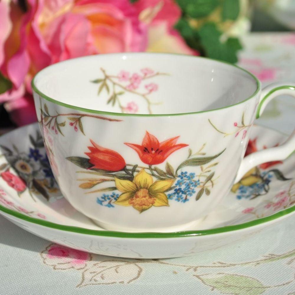 Minton Spring Blossom Fine Bone China Teacup and Saucer c.1990s