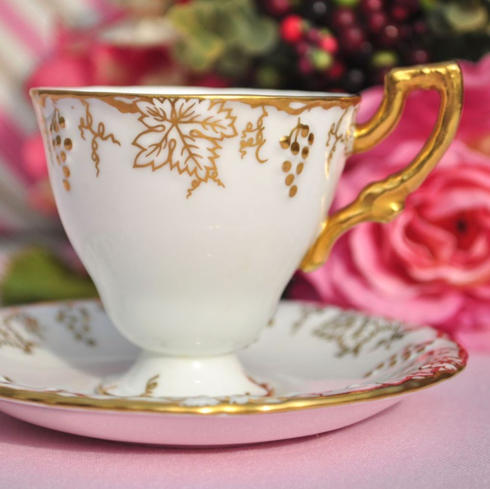 Royal Crown Derby Vine Pattern Coffee Cup and Saucer c.1964