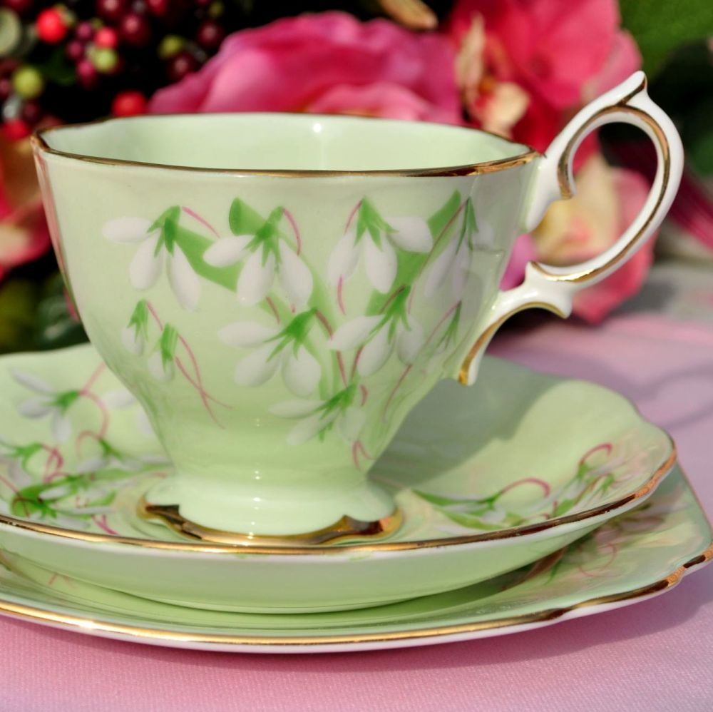 Royal Albert Laurentian Snowdrop Teacup Trio c.1940s