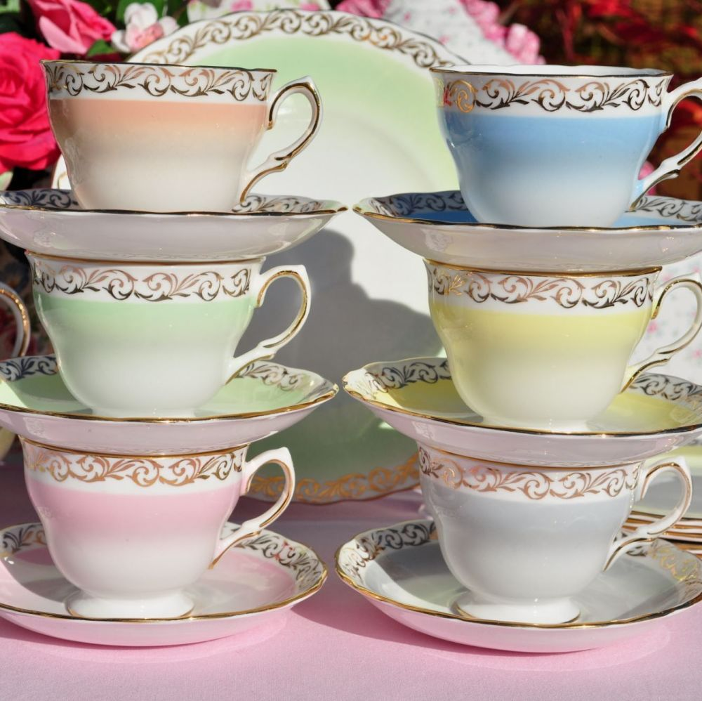 Colclough Harlequin Vintage China Tea Set with Gold Scroll Border c.1960s