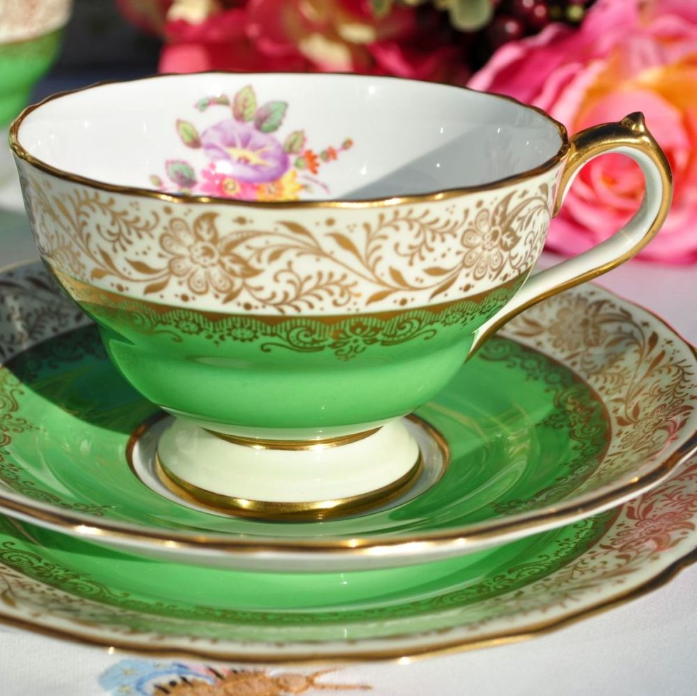 Antique Spode Ruskin Y4133 Green and Gold Filigree Teacup Trio c.1891+