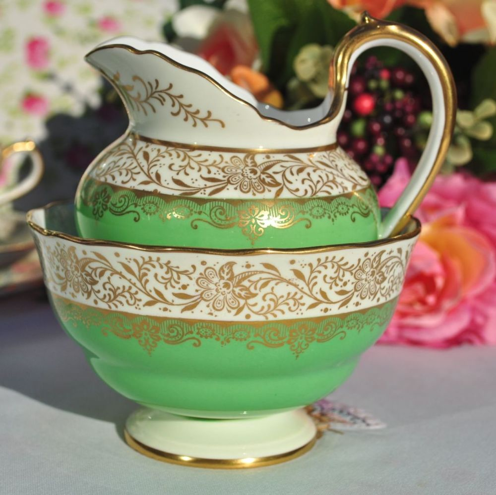Antique Spode Ruskin Y4133 Green and Gold Filigree Milk Jug and Sugar Bowl