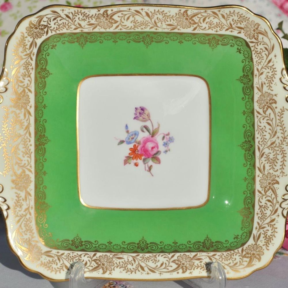 Antique Spode Ruskin Y4133 Green and Gold Filigree Biscuit Tray c.1891+