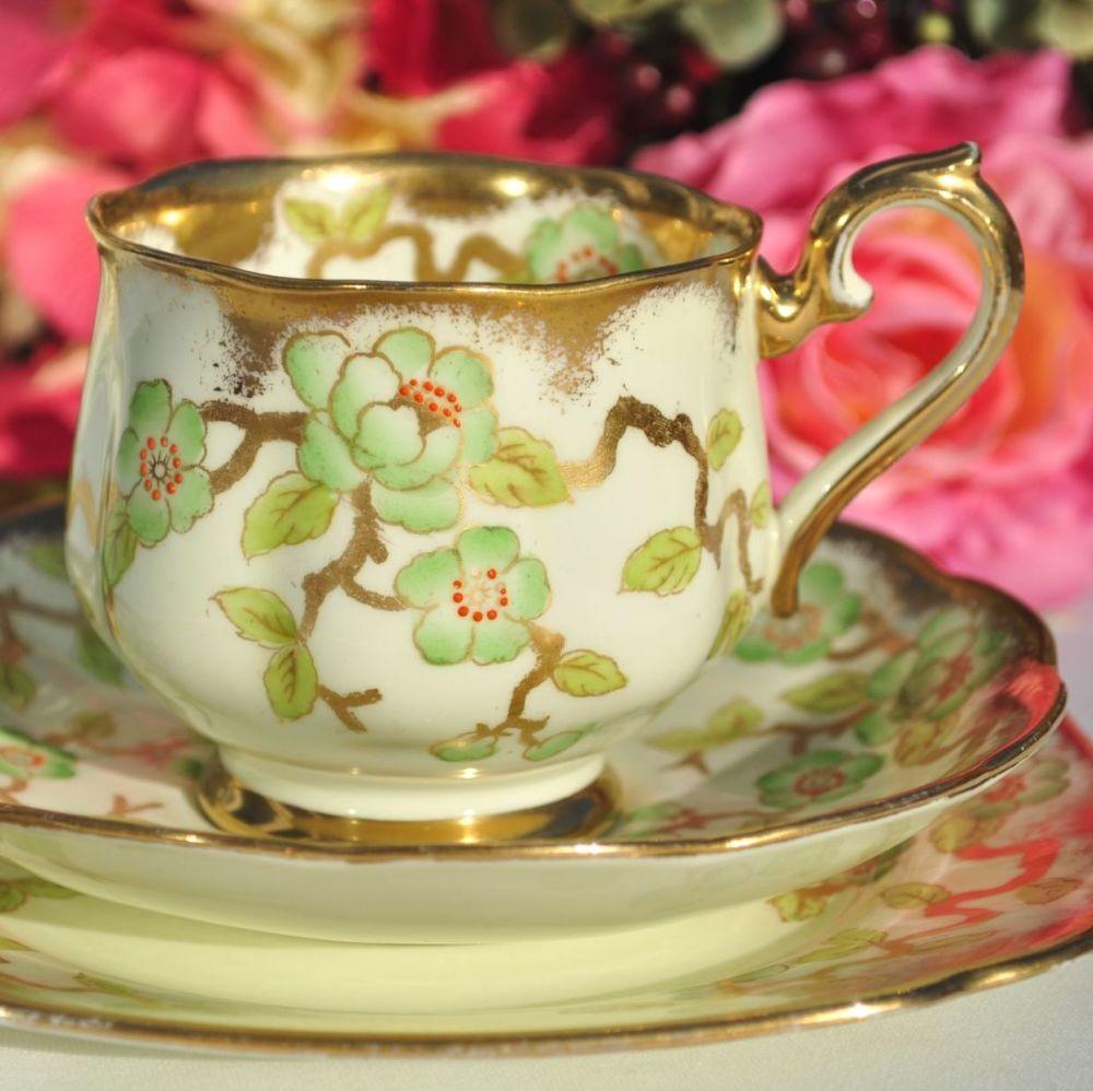 Royal Albert Crown China 9072, Cream, Green, Gold Teacup Trio c.1932