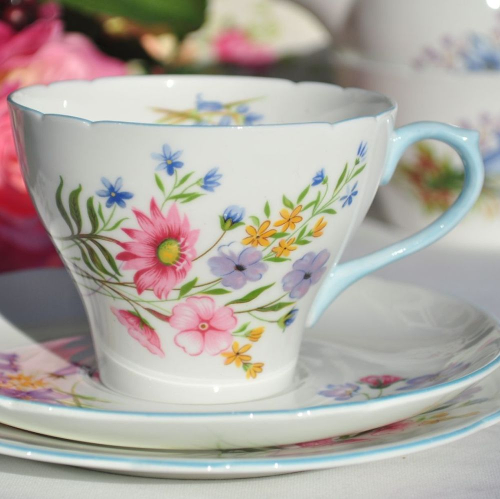 Shelley Wild Flowers 13668 Vintage Fine China Teacup Trio