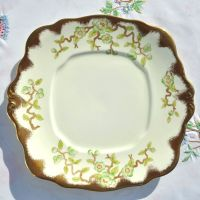 Royal Albert Crown China 9072, Cream, Green and Gold Cake Plate c.1932