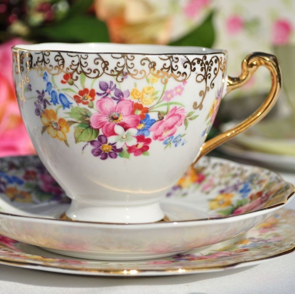 Roslyn Fine China Teacup Trio Floral and Gold 1950s