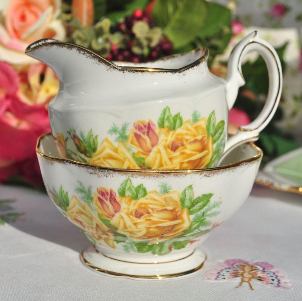 Royal Albert Tea Rose Vintage Milk Jug & Sugar Bowl c.1940s