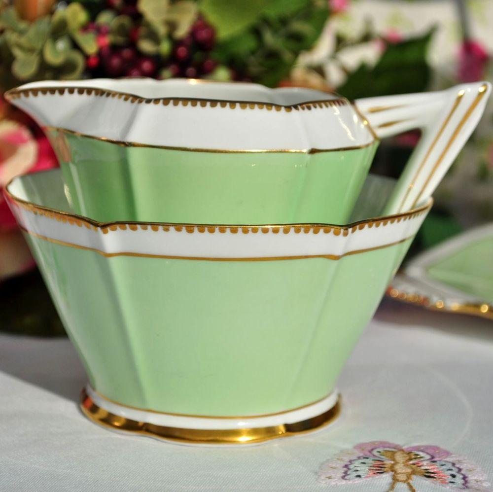 Art Deco Crown China Green Milk Jug & Sugar Bowl c.1933