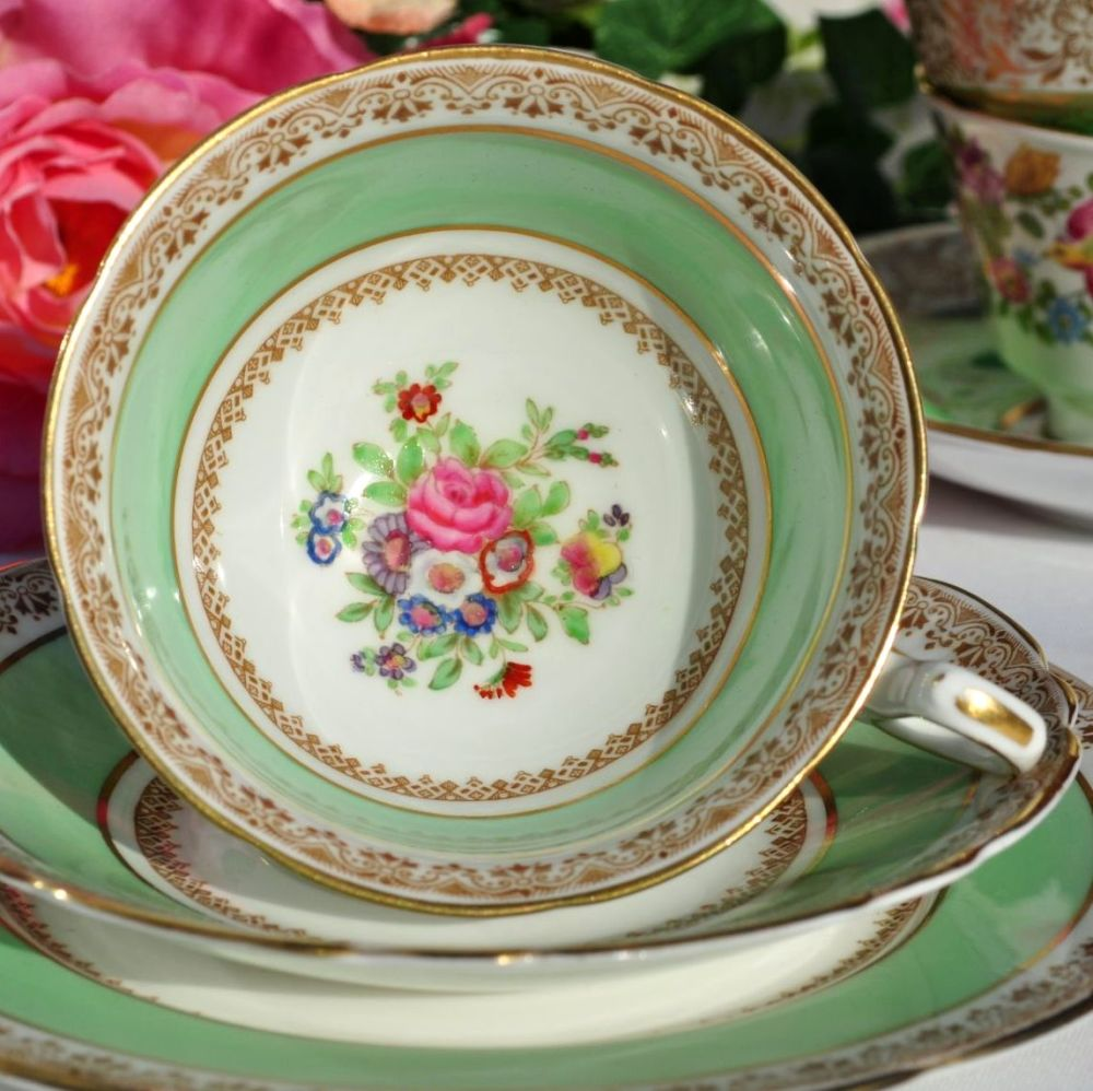 Adderley Ware Green and Floral Best Bone China Tea Cup Trio c.1930s