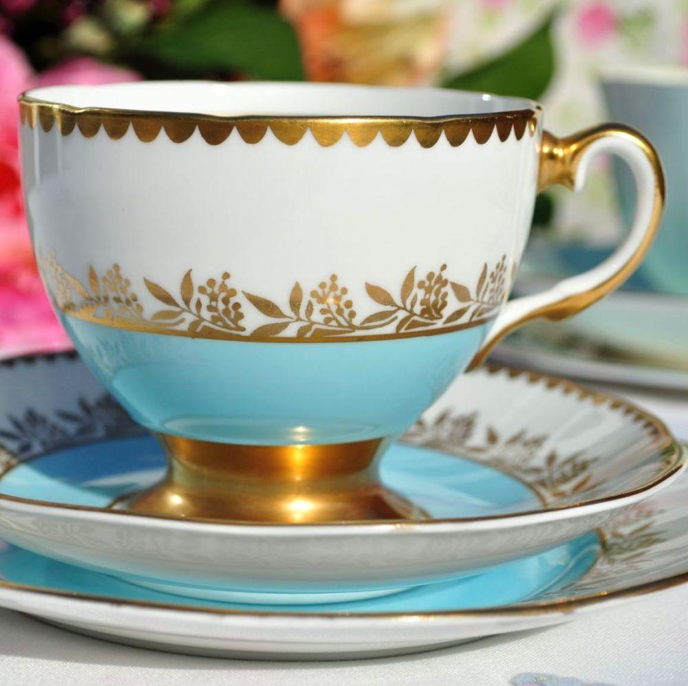 Salisbury Sky Blue & Gold Vintage China Teacup Trio