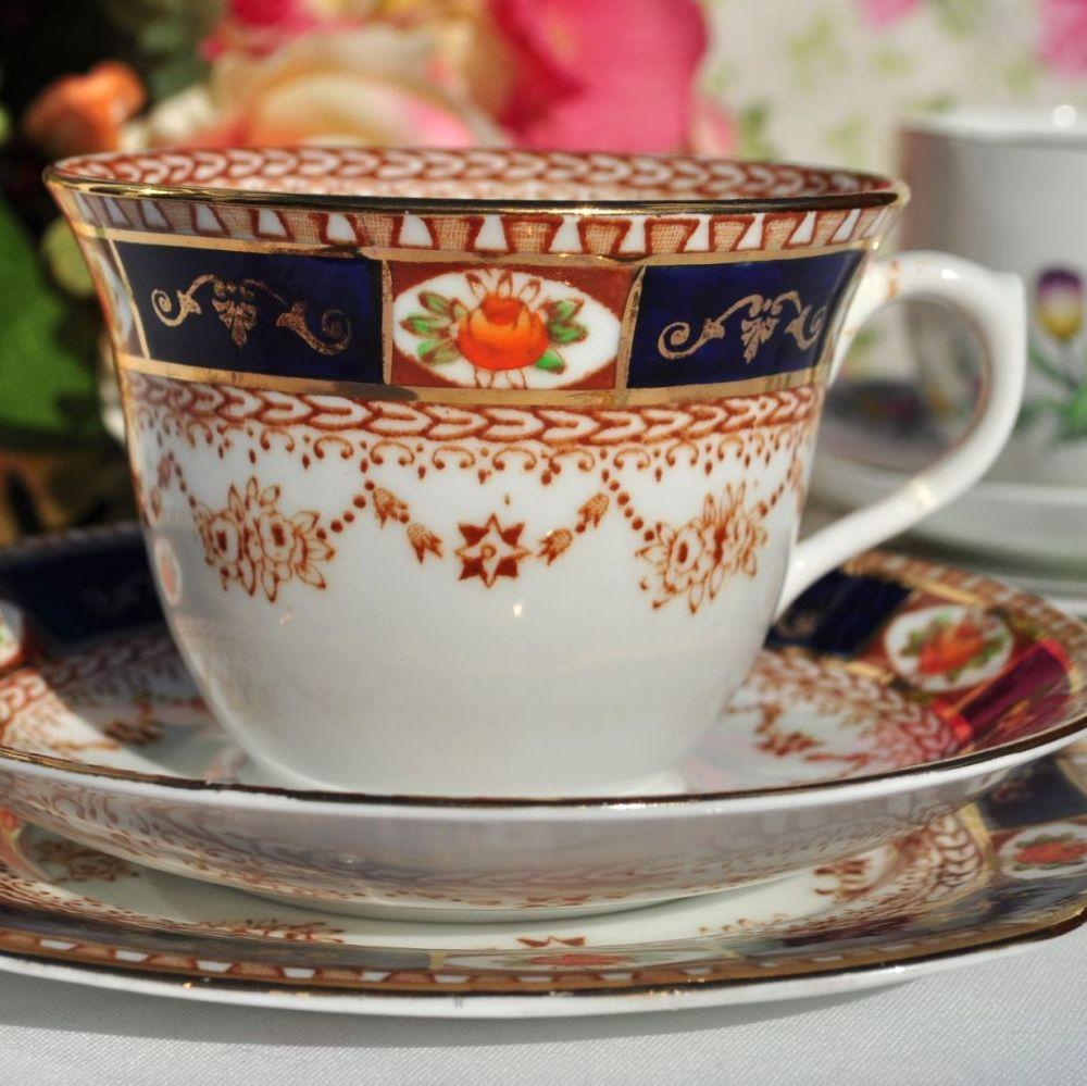 Reid - Roslyn China Imari Style Tea Cup Trio c.1937