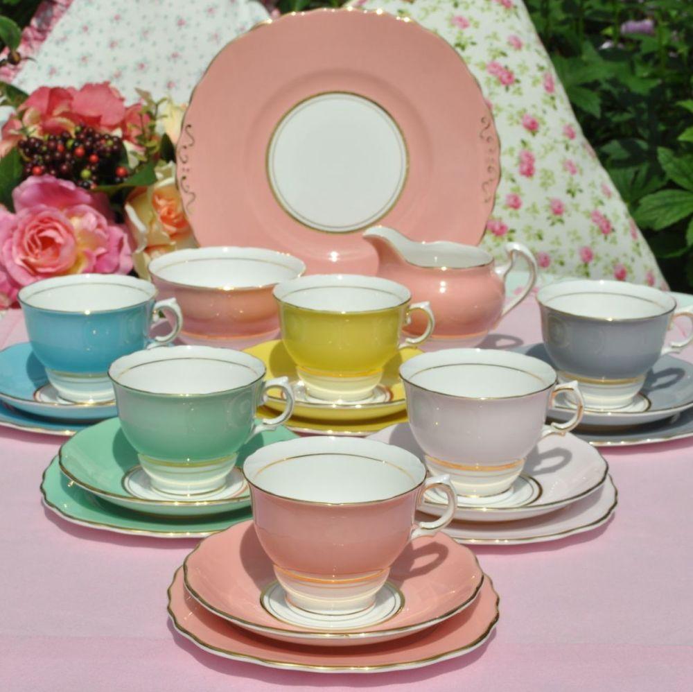 Colclough Harlequin Vintage China Tea Set c.1960s