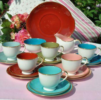 Susie Cooper Harlequin 21 Piece Tea Set c.1950s