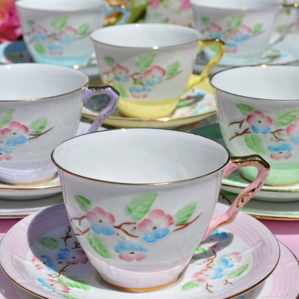 Royal Stafford Floral Glory Harlequin Six Teacup Trios c.1940s