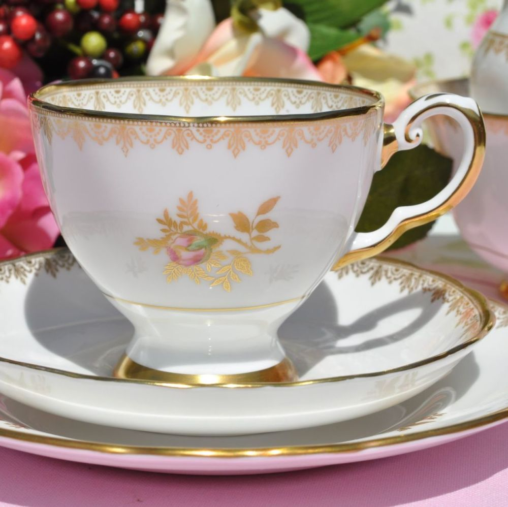 Tuscan Rosalie F187 Vintage English China Teacup Trio c.1957+