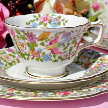 Royal Crown Derby Multi Colour Floral and Bird Teacup Trio