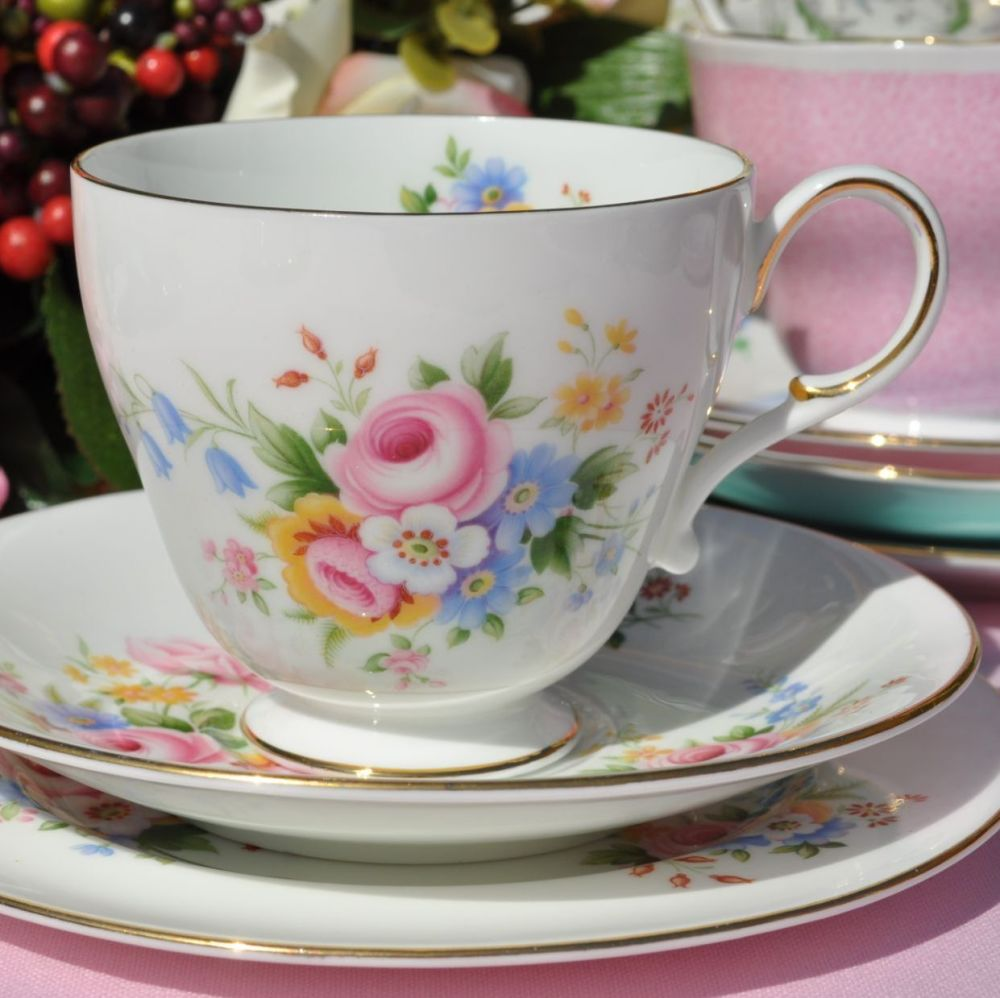 Paragon Floral Fine Bone China Teacup, Saucer, Tea Plate