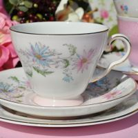 Royal Grafton Summer's Day Hand Painted Teacup Trio c.1960s