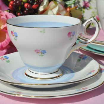 Bell China Blue Wash Teacup Trio with Ditsy Flowers