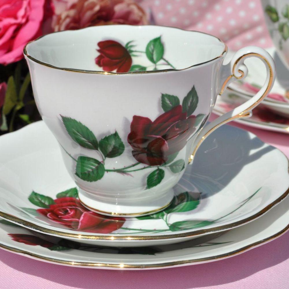 Royal Standard Red Velvet Rose Pattern Teacup Trio c.1950s