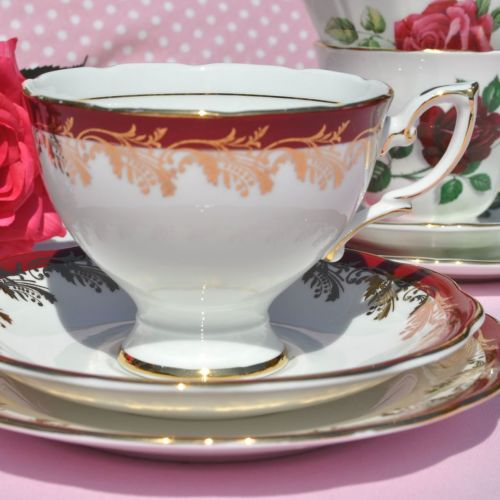 Royal Standard Red and Gold Leaf Vintage Fine China Teacup Trio c.1950s