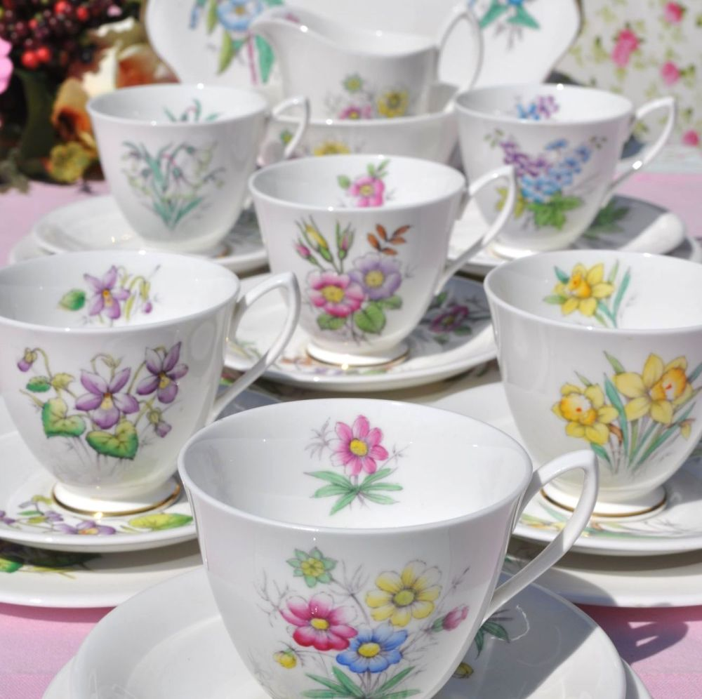 Royal Albert Flower of the Month 21 Piece Tea Set c.1950s