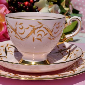 Tuscan 1842H Pink and Gold Vintage Teacup Trio c.1947+