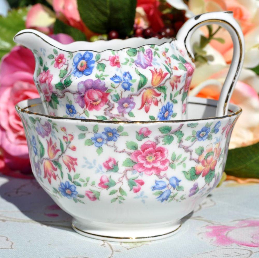 Crown Staffordshire Springtime Cream Jug and Sugar Bowl