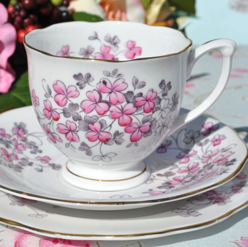 Queen Anne Pink Clover Vintage China Trio c.1950s