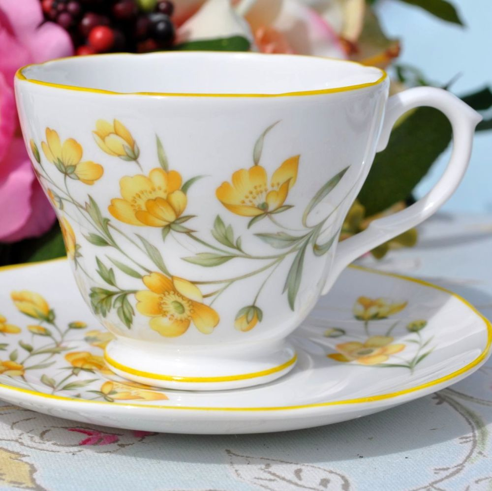 Royal Burlington Buttercup Pattern Teacup and Saucer c.1960s