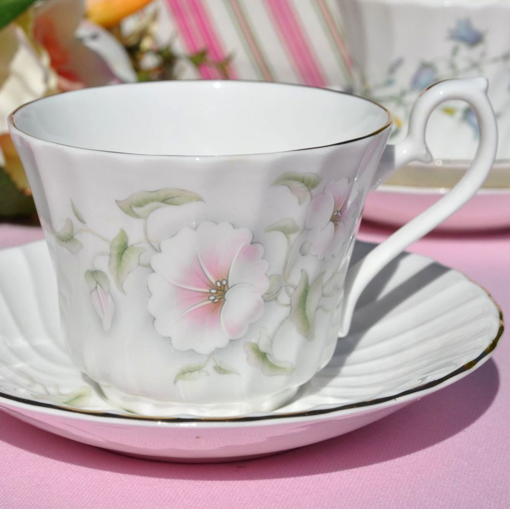 Royal Burlington Pink Beauty Fluted Teacup and Saucer c.1960s