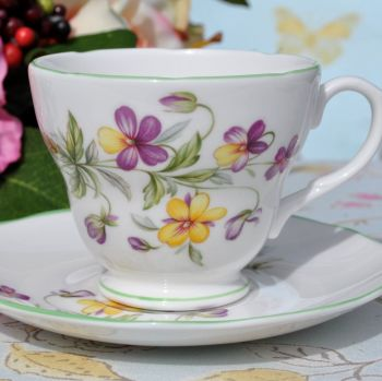 Royal Burlington Viola Pattern Teacup and Saucer c.1960s