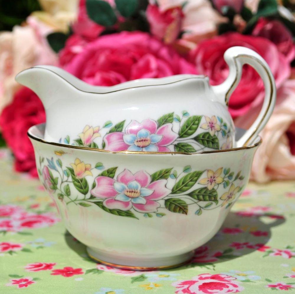 Colclough Floral Milk Jug and Sugar Bowl