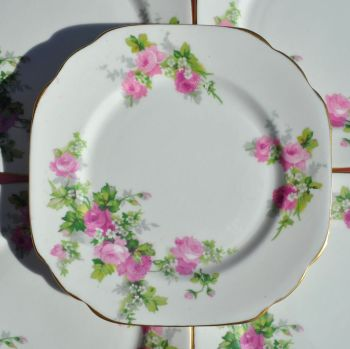 Stanley China Old English Roses Serving Plate and Six Side Plates Set c.1930s