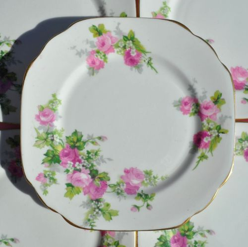Stanley China Old English Roses Serving Plate and Six Side Plates Set c.193