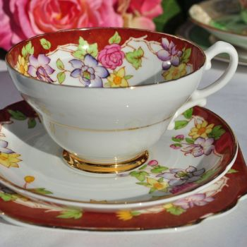 Stanley China Terracotta and Floral Tea Cup Trio c.1949-53