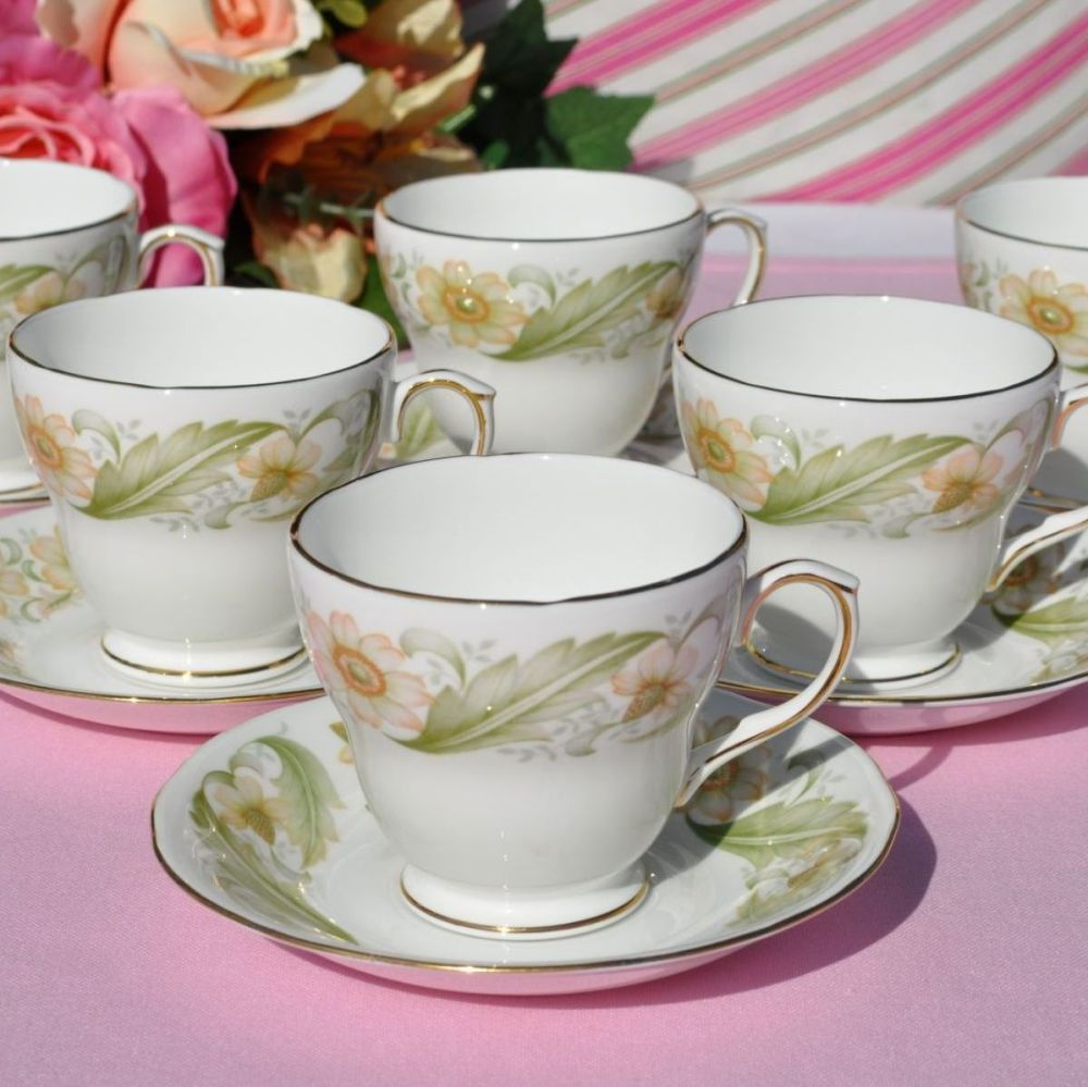 Duchess Greensleeves Set of Six Demitasse Teacups and Saucers