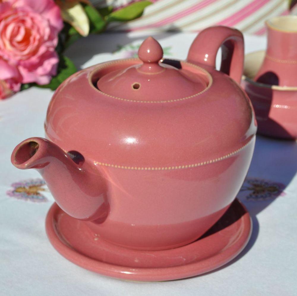 Lovatts Langley Ware Dusky Pink Teapot, Stand, Milk Jug and Sugar Bowl